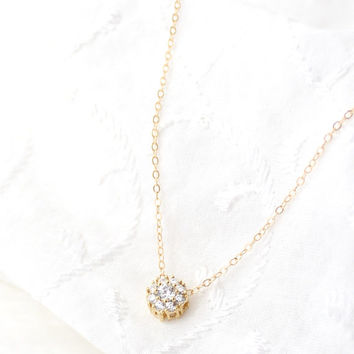 Solitaire Necklace - Cubic Zirconia Necklace - CZ Diamond Necklace - Small Circle Pendant Necklace - Tiny Flower Necklace - Dainty  Delicate