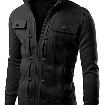 Men's Highneck Zip Up Cool Military Jacket