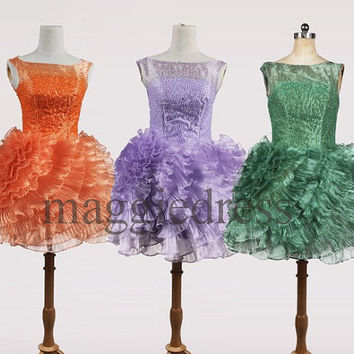 Custom Organza Beaded Kneee Length Prom Dresess Evening Dresees Party Dresses Wedding Party Dress Homecoming Dresses Bridesmaid Dresses