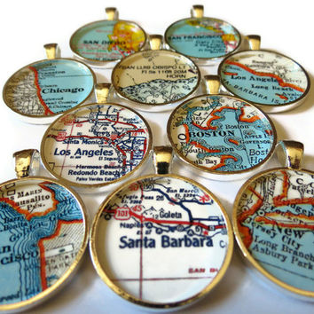 Custom map jewelry, map necklace pendant charm, custom jewelry, Custom Map Necklace Charms