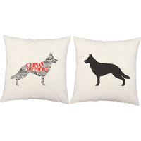German Shepard Throw Pillows - Typography Dog Silhouette Pillow Covers and or Cushions, German Shepard Pillows, Dog Breed Pillow