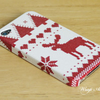 Christmas reindeer iPhone 4 case / Christmas iPhone 4s case / iPhone Case / iPhone cover