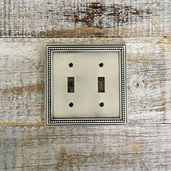 Light Switch Cover Double Lightswitch Plate Mid Century Decor Silver Light Switch Cover Cottage Chic Light Switch Plate Home Improvement