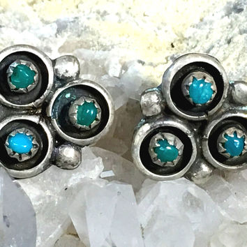Zuni Turquoise Earrings Snake Eye Cloud Pierced Post Sterling Silver