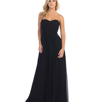 Black Pleated Chiffon Strapless Sweetheart Gown