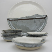Serving Tray with small Dishes, Passover Plate, Tapas Plates, Handmade Ceramics in Grey and White Winter Landscape