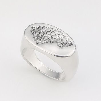 Fashion Jewelry A Song Of Ice And Fire Game Of Thrones House Starks Winterfell Wolfe Ring for Men Jewelry