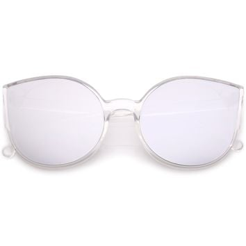 Women's Oversize Mirrored Flat Infinity Lens Sunglasses A940