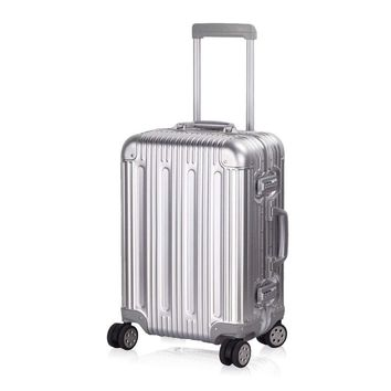 "Aluminum Luggage Carry On Spinner Hard Shell Suitcase Lightweight Metal Suitcases TSA Unlock (Silver 20""24""29"" Inch)"