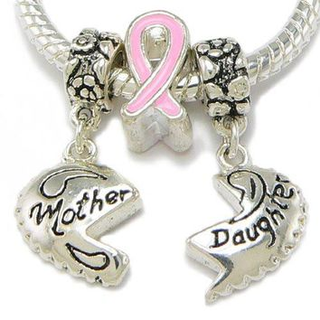 Silver Plated Mother Daughter With Breast Cancer Ribbon Charm & Silver Gilt Bracelet