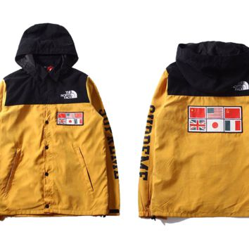 cc kuyou Yellow North Face x Supreme Windbreaker