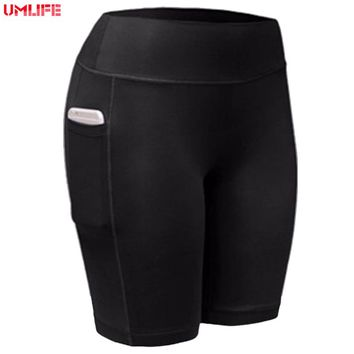 UMLIFE Sport Shorts Women Gym Shorts Sexy Spandex Shorts for Body Building Running Quick Dry Breathable Training Pockets Tights