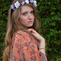 Floral crown, flower crown headband, bridal wreath, Boho garland, lilac white flower crown, Silk Flowers - 'Beauty'