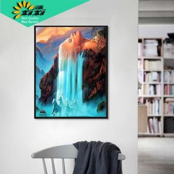 XIXI art Frameless Wall art home decor Pictures Painting On Canvas White hair waterfall DIY Digital Oil painting by numbers WX03