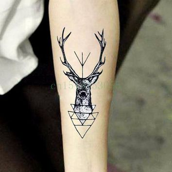 Waterproof Temporary Tattoo Sticker elk head deer bucks horn antlers henna tatto stickers flash tatoo fake tattoos for men women