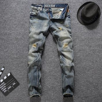 Men Ripped Holes Slim Jeans [748306235485]