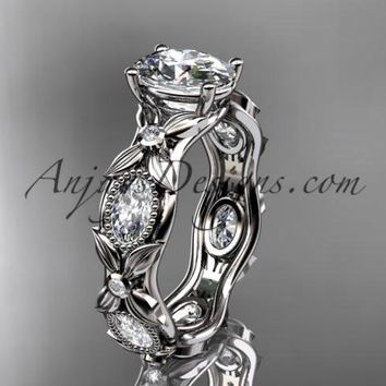 "platinum diamond leaf and vine wedding ring, engagement ring with a ""Forever One"" Moissanite center stone ADLR152"