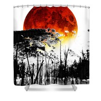 The Red Moon - Landscape Art By Sharon Cummings Shower Curtain