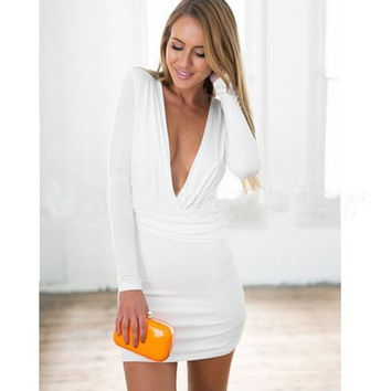 Hot Sale Stylish Deep V Irregular Sexy Shaped Slim One Piece Dress [6339075393]