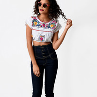 Vintage Style White Mexican Embroidered Crop Top