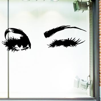 Window Vinyl Decal Shop Store Eyes Beauty Hair Salon Interior m462w