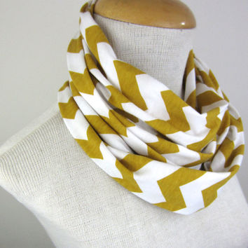 Child Mustard Chevron Scarf - Marigold and White Scarf - Kids Chevron Infinity Scarf