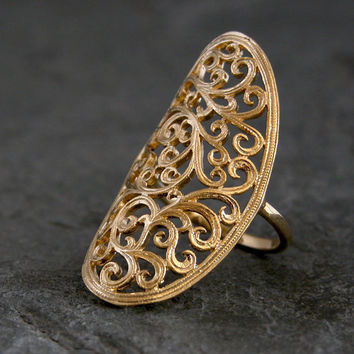 Gold Ring ,Ethnic gold  ring,Gold Lace Ring,Gold Lace Filigree Ring,Lace Large Ring