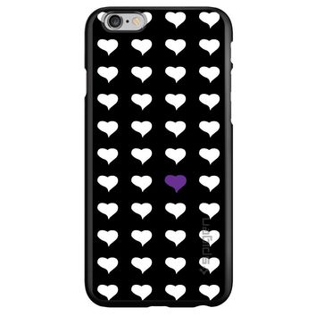 DistinctInk® Spigen ThinFit Case for Apple iPhone or Samsung Galaxy - Purple White Black Repeating Hearts