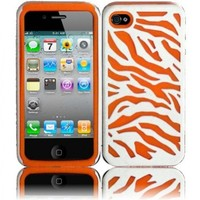 Zebra Silicone and PC Hard Case for Apple iPhone 4/4S/4G - Orange/White