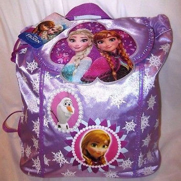 FROZEN ANNA,ELSA, AND OLAF LIGHTWEIGHT PURPLE SATIN LOOK BACKPACK TRAVEL POUCH