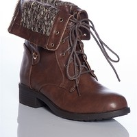Refresh Warm Form Dason-03 Sweater Cuff Fold Down Lace Up Combat Boots - Brown