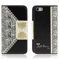 Black Fresh Cute Flip Wallet Leather Case Cover for iPhone 5S 5 5th