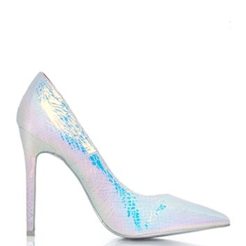 Shoe Republic LA Osbourne Pointy Toe Pumps Heels Shoes - Iridescent Snake Skin from Shoe Republic LA at ShopRoxx.com
