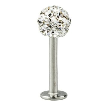 Cool Crystal Gem Stainless Steel Labret Piercing Stud good for Lip / Tragus / Ear Piercing silver+white