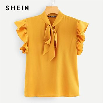 SHEIN Mustard Elegant Office Lady Flounce Shoulder Tied Neck Floral Solid Ruffle Blouse Summer Women Tops And Blouses