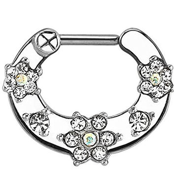 White Flower Paved Gem Surgical Steel Septum Clicker 16 GA