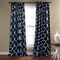 Lush Decor Geo Blackout Window Curtain, 84 by 52-Inch, Navy, Set of 2