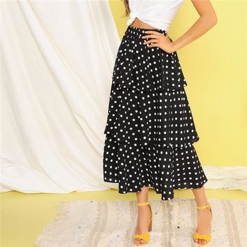 Black Polka-dot Print Layered Ruffle Casual Long Skirt High Waist Long Skirts Womens A Line Elegant Skirt
