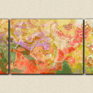 "Oversize triptych contemporary art stretched canvas print, 30x60 to 40x78, in bright colors, ""Fiesta"""
