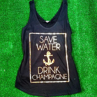 SAVE WATER & DRINK CHAMPAGNE BRAIDED TANK IN BLACK