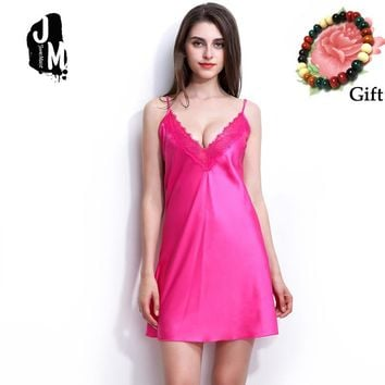 New Arrival REAL Silk Nightgowns Women Sexy Spaghetti Strap Sleepdress Solid SATIN Nightdress Nightie Summer Pink White Blue