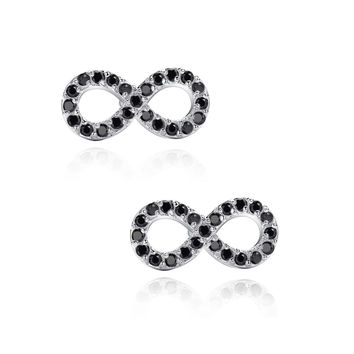 Infinity W. Black Cubic Zirconia Stud Earrings
