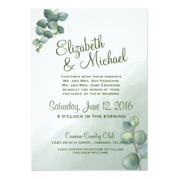 Eucalyptus Watercolor Wedding Invitation
