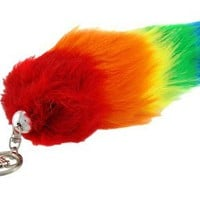 Bright Rainbow Stripe Faux Fur Fox Tail w/ Clip 12 Inch .