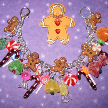 Christmas Candy Bracelet Christmas Charm Bracelet Candyland Christmas Candy Jewelry Gingerbread Man Cookies Peppermints Lollipops Cute OOAK