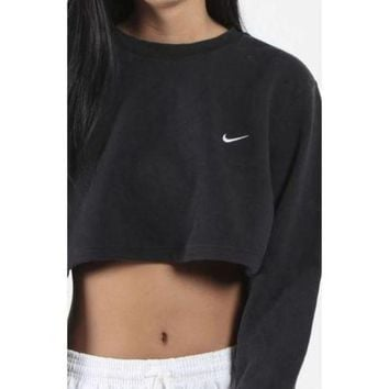 CREYUP0 Nike Casual Long Sleeve Crop Top Shirt Sweater Pullover-1