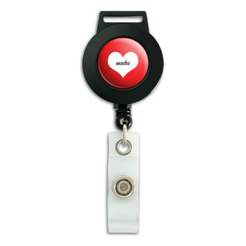 Snacks Heart Wedding Bridal Valentines Retractable Badge Card ID Holder