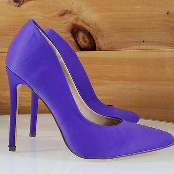 """Barby Purple Sateen Pointy Toe Stiletto Pumps - 4.5"""" High Heel Shoes"""