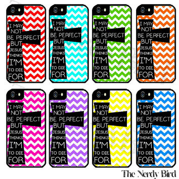 Chevron and Cross Bible Quote Plastic or Rubber iPhone 4 or 5 Case
