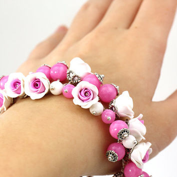 "Bright Bracelet with Roses ""Fuchsia"" Bright Pink Bracelet with Flowers Feminine Jewelry Floral Jewelry Gift for Her for Bride White Rose"